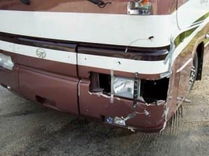 damaged bus motor home rv